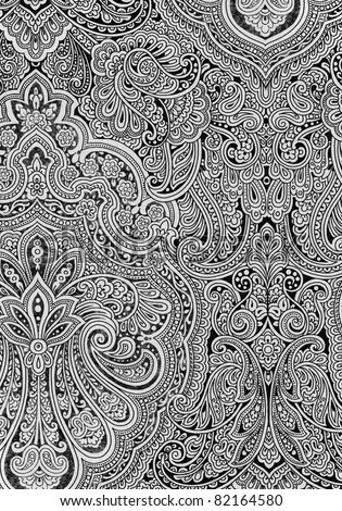 Paisleys - XXL Hand drawn paisleys - stock photo