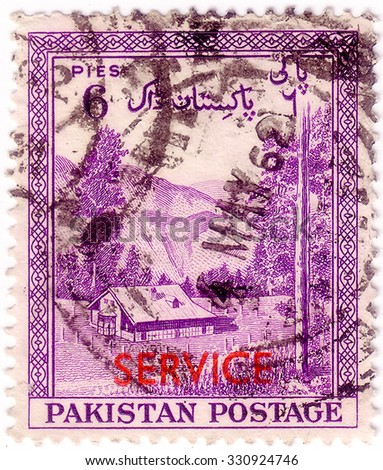 PAKISTAN - CIRCA 1954: A stamp printed in Pakistan shows the valley Kagan, District Hazara, circa 1954 - stock photo