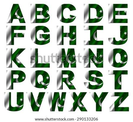 Pakistan flag font isolated on white illustration - stock photo