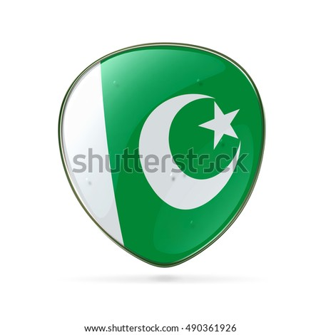 Pakistan Flag Icon, isolated on white background.