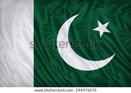 Pakistan flag pattern on the fabric texture ,vintage style - stock photo