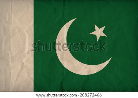 Pakistan flag pattern on the paper texture ,retro vintage style - stock photo