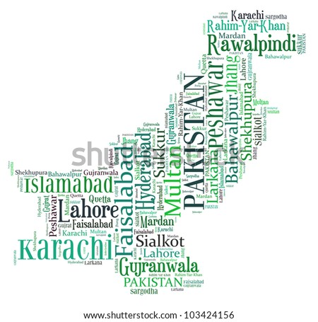 Pakistan map and words cloud with larger cities - stock photo