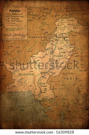 Pakistan map on vintage paper - stock photo
