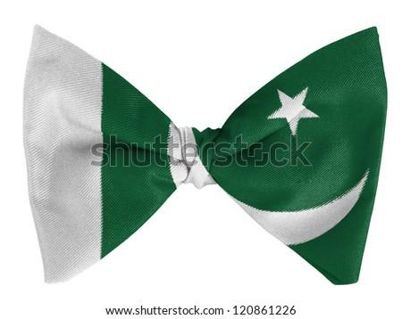 Pakistan. Pakistani flag on a bow tie - stock photo
