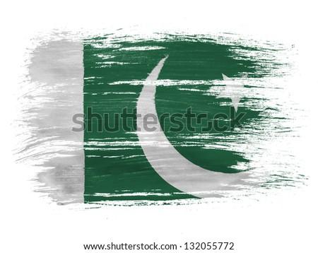 Pakistan. Pakistani flag on white background - stock photo