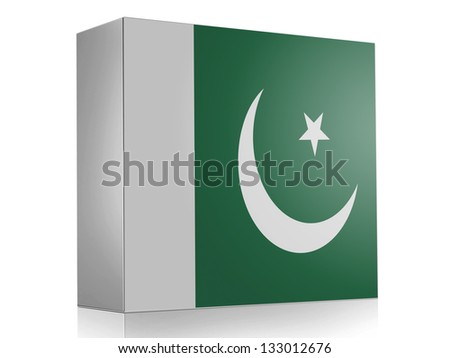 Pakistan. Pakistani flag on white box icon - stock photo