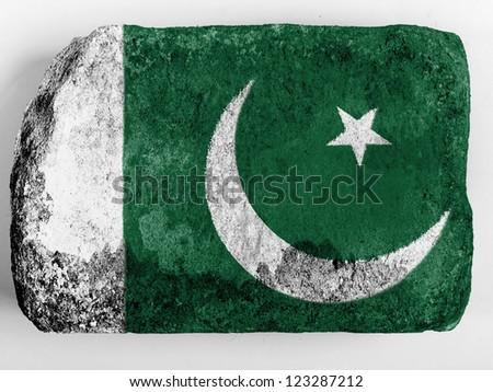 Pakistan. Pakistani flag painted on brick - stock photo