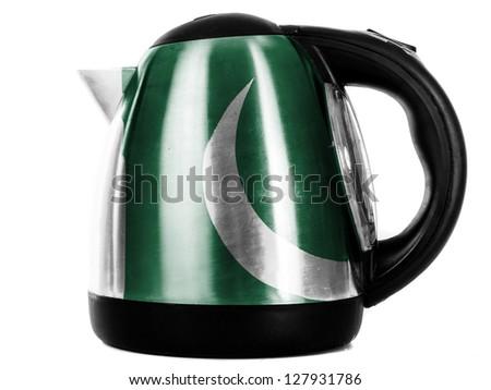 Pakistan. Pakistani flag painted on shiny metallic kettle - stock photo