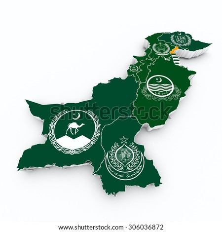 pakistan province flags on 3d map - stock photo
