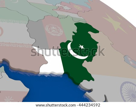 Pakistan with flag highlighted on model of globe. 3D illustration - stock photo