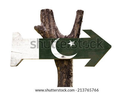 Pakistan wooden sign isolated on white background  - stock photo