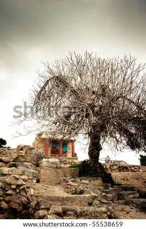 Palace at Knossos Archeological Site in Crete, Greece - stock photo