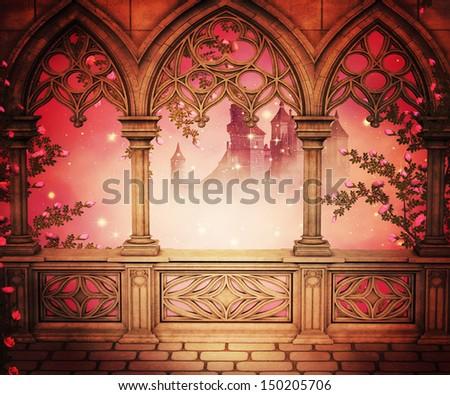 Palace Balcony Background - stock photo
