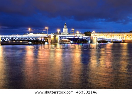 Palace Bridge and Neva River at night in St.Petersburg, Russia.
