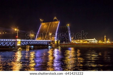 Palace Bridge, movable bridges in the city of St. Petersburg on the Neva River, sight and architecture