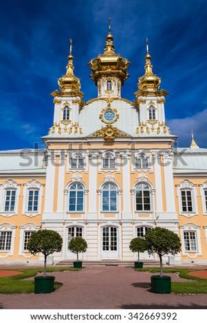 Palace church of St Peter and Paul in Peterhof, Saint-Petersburg, Russia - stock photo