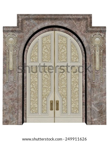 Palace entrance isolated in white background - 3D render - stock photo