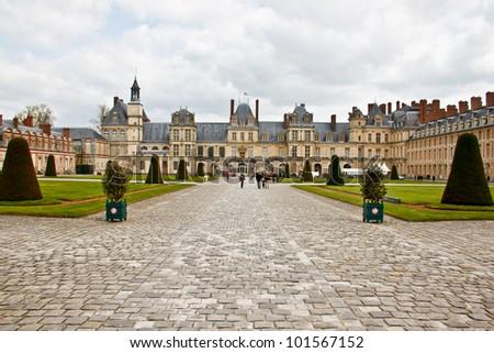 Palace Fontainebleau, Ile-de-France, France - stock photo