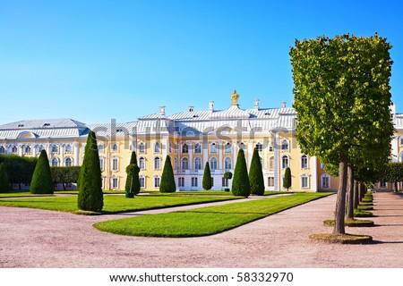 Palace in Peterhof. St. Petersburg. Russia - stock photo