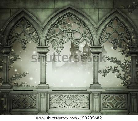 Palace Interior Background - stock photo