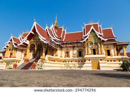 Palace inWat pha tat luang stupa in Vientiane ,Laos - stock photo