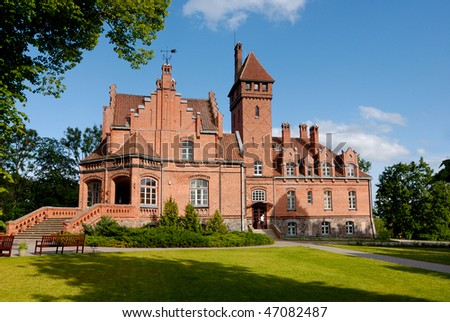 Palace Jaunmokas (in Latvia) designed with a combination of Neo-Gothic  forms. The palace was built in 1901 - stock photo