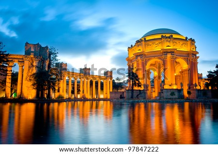 Palace of Fine Arts Museum at Night in San Francisco - stock photo