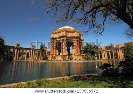 Palace of Fine Arts, originally constructed for the 1915 Panama-Pacific Exposition - stock photo