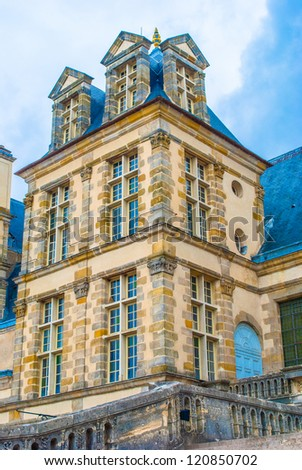Palace of Fontainebleau, one of the largest French royal chateaux. - stock photo