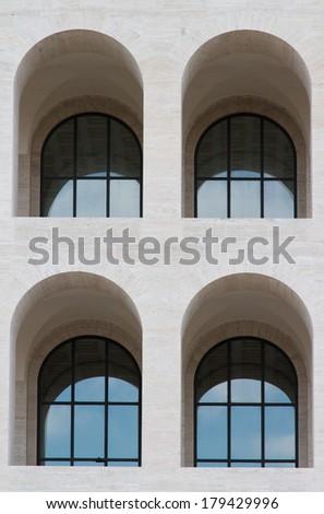 Palace of Italian Civilization - Eur - Rome-Italy - stock photo