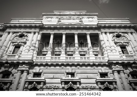 Palace of Justice (Palazzo di Giustizia) - courthouse building in Rome, Italy. Black and white retro style - monochrome color tone. - stock photo