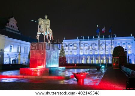 Palace of Polish President at night in Warsaw, Poland - stock photo