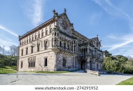 Palace of Sobrellano and church from Comillas, Santander, Spain - stock photo
