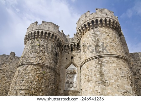 Palace of the Grand Master of the Knights of Rhodes, Greece - stock photo
