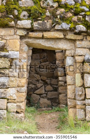 Palace of the Inca, closeup on ancient Incan ruins on Isla del Sol on Lake Titicaca in Bolivia - stock photo