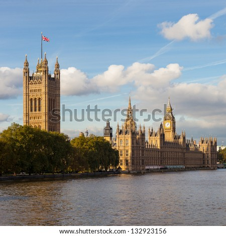 Palace of Westminster and Big Ben in London, England.