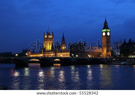 Palace of Westminster, Houses of Parliament, Big Ben, Clock Tower at night - stock photo