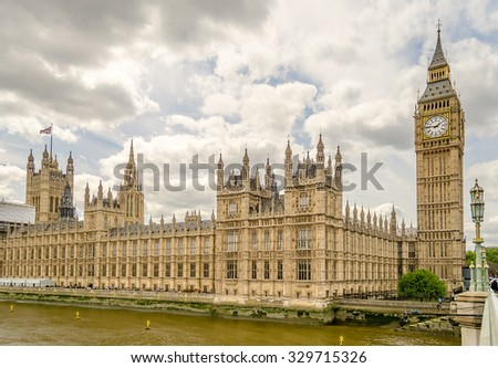 Palace of Westminster, Houses of Parliament, London, UK - stock photo