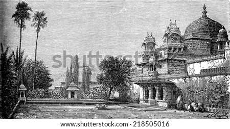 Palace on the island of Jag Mandir in Udaipur, vintage engraved illustration. Le Tour du Monde, Travel Journal, (1872). - stock photo