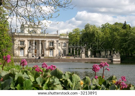 Palace on the Water (Palace on the Island) in Lazienki Park, Warsaw, Poland. The summer resindence of Polish King. - stock photo