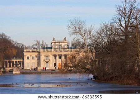 Palace on the water,  Royal Baths,  Warsaw,  Poland - stock photo