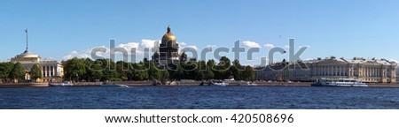 Palace quay  panorama, St. Petersburg, Russia - stock photo