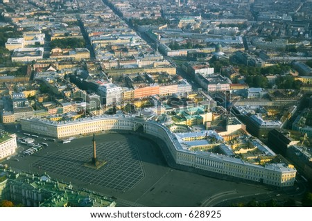 Palace Square and the Alexander Column - side view [#4927] - stock photo