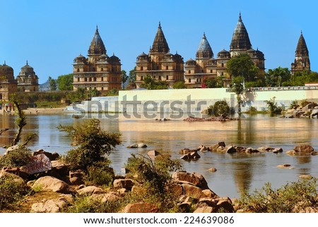 Palace temple complex in Orcha. Madhya Pradesh. India  - stock photo