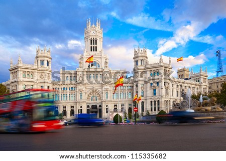 Palacio de Comunicaciones and Cibeles Fountain, Madrid, Spain - stock photo