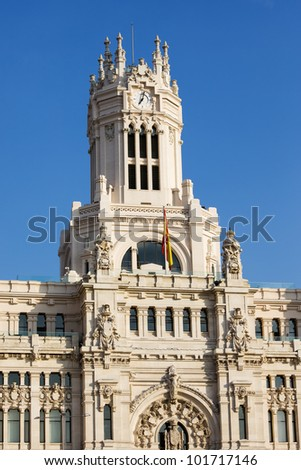 Palacio de Comunicaciones architectural details in the city of Madrid, Spain