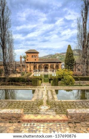 Palacio del Partal, Al hambra, Spain - stock photo