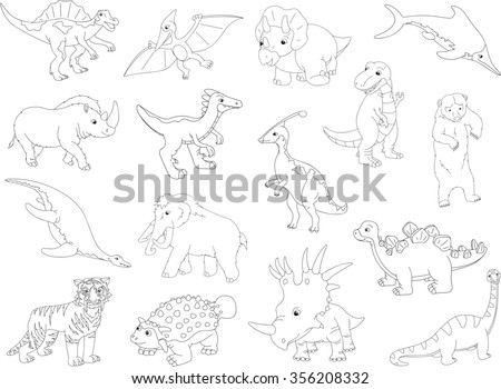 Palaeosaurus, styracosaurus, spinosaurus, ichthyosaur, diplodocus, tyrannosaur, pterodactyl, triceratops, pliosaur, stegosaurus, ankylosaurus, guanlong, mammoth, bear, saber-toothed tiger and rhino - stock photo