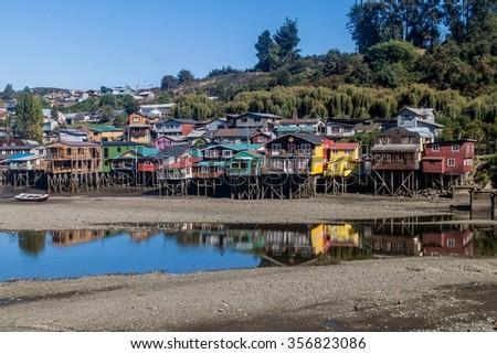 Palafitos (stilt houses) in Castro, Chiloe island, Chile - stock photo